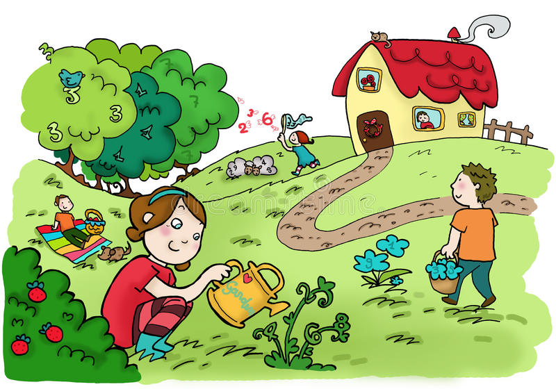 Happy magic numbers garden royalty free illustration