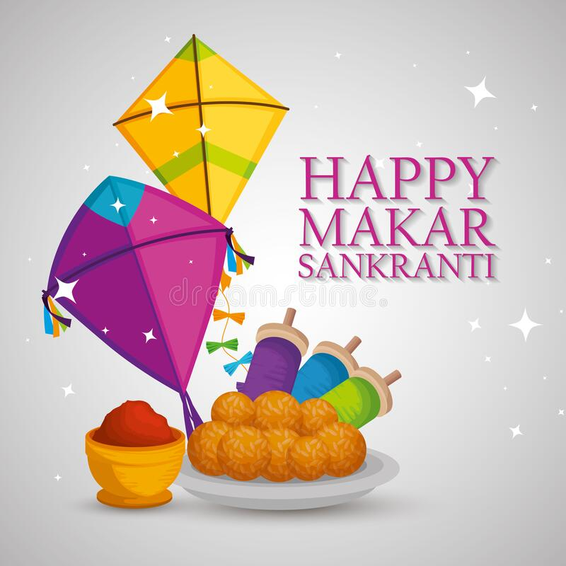 Happy Makar Sankranti Illustration with kites and text for card and background royalty free stock photos