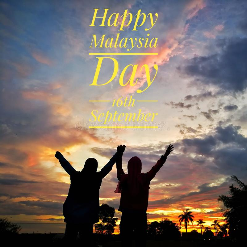 Happy malaysia day 16th september. royalty free stock photography