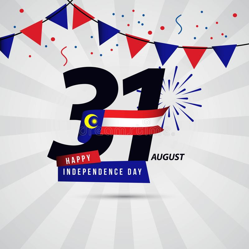Happy Malaysia Independence Day 31 August Vector Template Design vector illustration