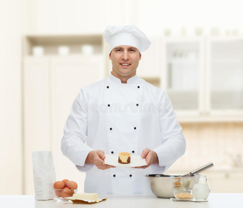 Happy male chef cook baking royalty free stock photo