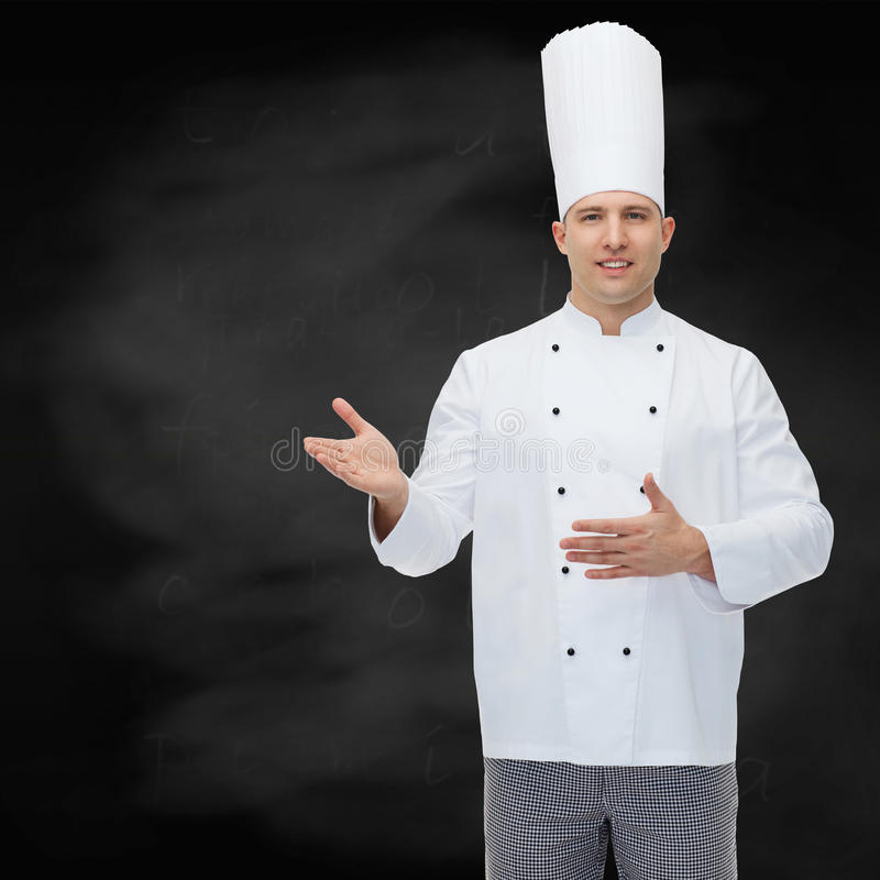 Free Happy Male Chef Cook Inviting Stock Images - 53820874
