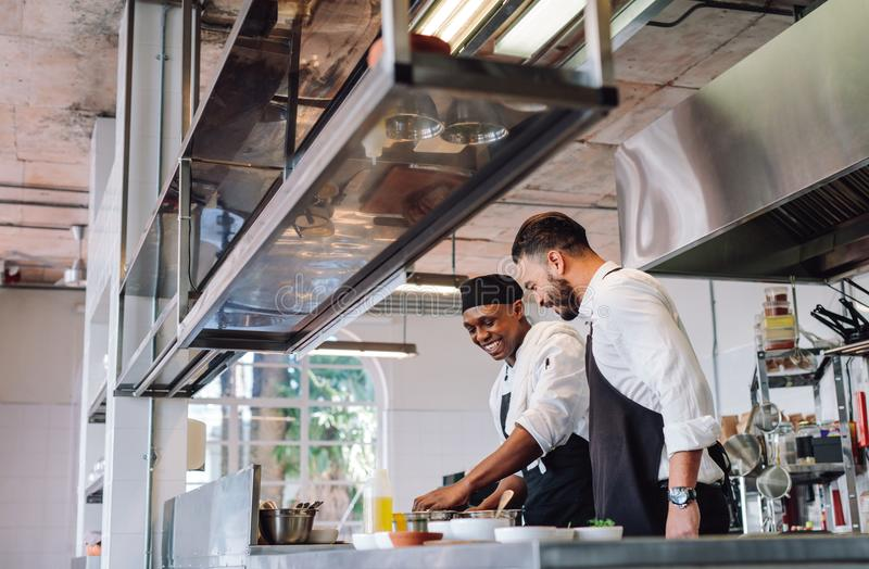 Two cooks preparing food in restaurant kitchen. Happy male chefs cooking food at cafe kitchen and talking. Two cooks preparing food in restaurant kitchen royalty free stock photography