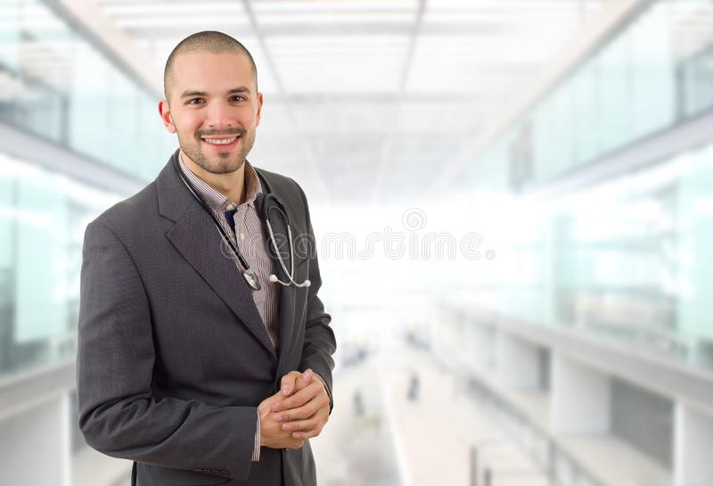 Doctor. Happy male doctor, at the hospital stock photo