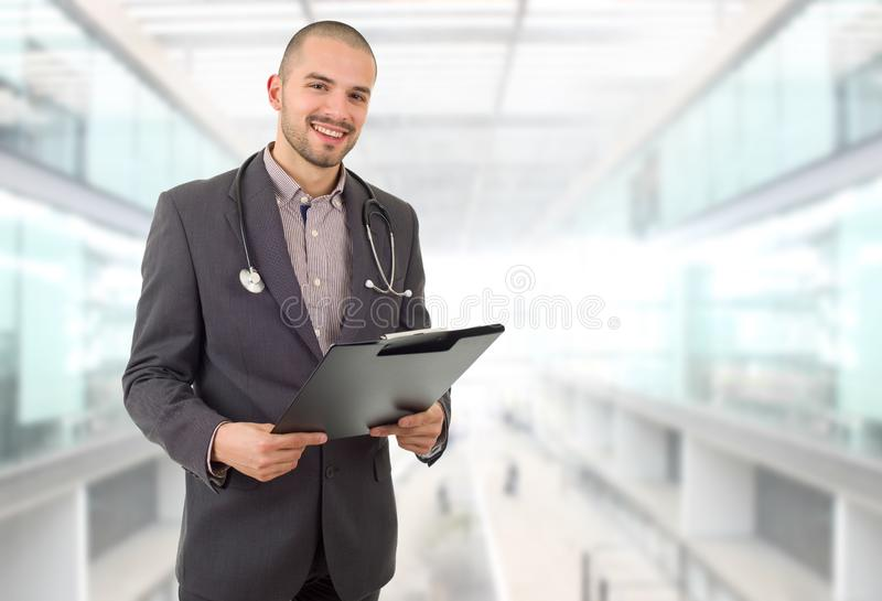 Doctor. Happy male doctor, at the hospital royalty free stock images