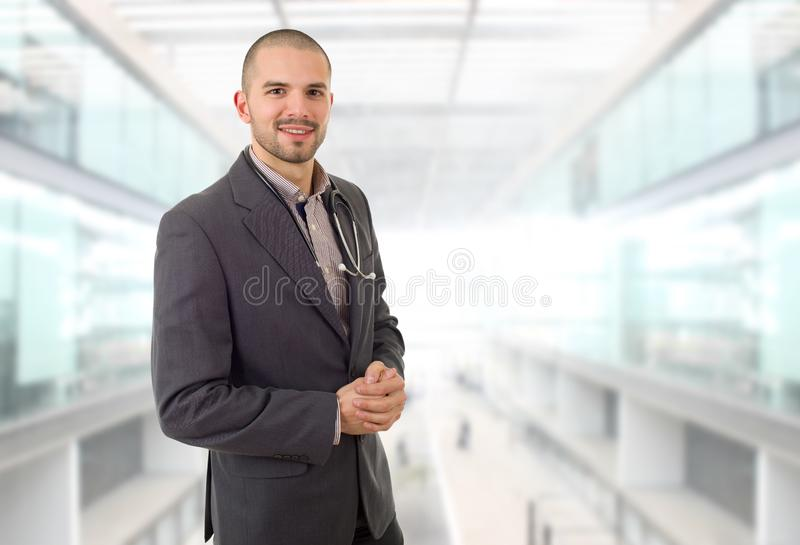 Doctor. Happy male doctor, at the hospital royalty free stock image