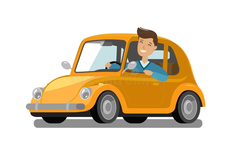 Happy male driver rides car. Driving, trip, taxi concept. Cartoon vector illustration. Happy male driver rides car. Driving, trip, taxi concept. Cartoon vector royalty free illustration