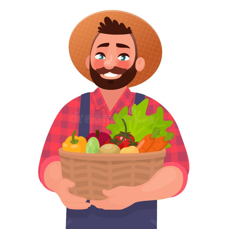 Happy male farmer holding a basket with vegetables. Useful and tasty rustic foods. Design element of a private farm vector illustration