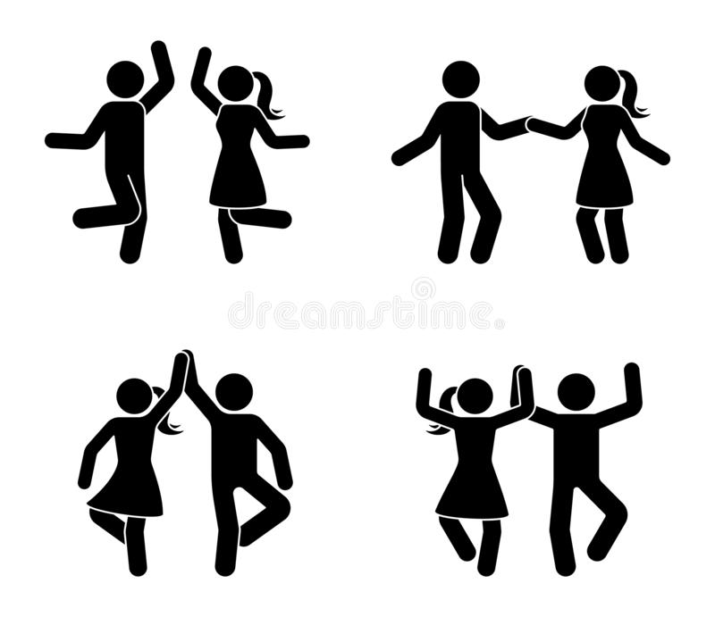 Happy male and female stick figure dancing together. Black and white party icon pictogram. stock illustration