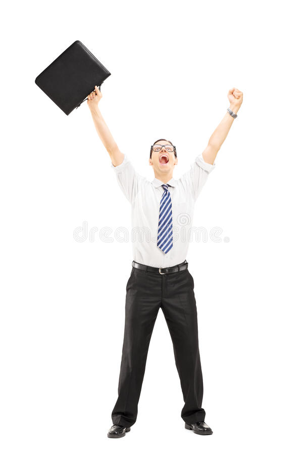 Download Happy Male Holding A Suitcase And Gesturing Happiness With Raise Stock Photo - Image of male, expression: 34284458