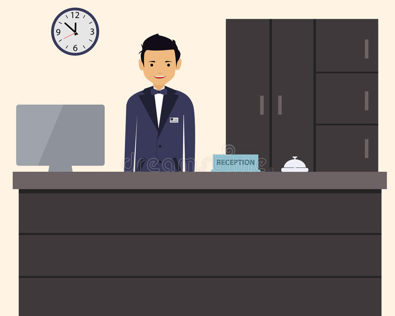 Happy male receptionist standing at hotel vector illustration