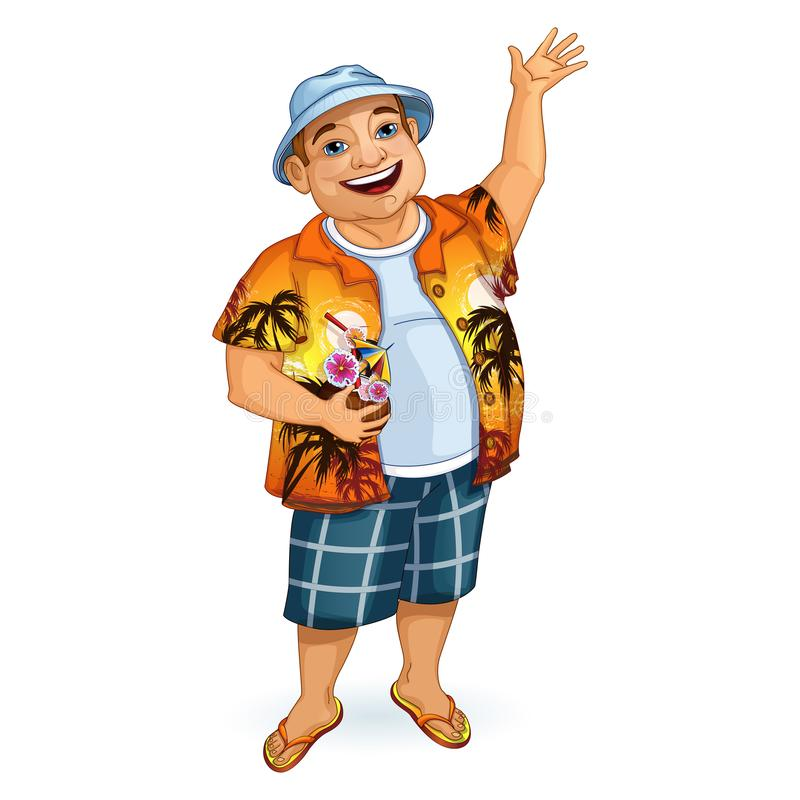 A happy male tourist in a Hawaiian shirt and Panama waving his hand. He holds a cocktail in his hand in a coconut. stock illustration