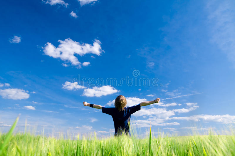 Happy man with arms up. On summer field royalty free stock photo