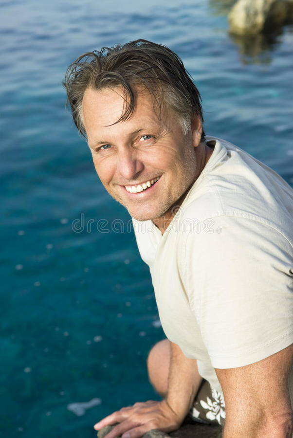 Happy Man On The Beach Stock Images