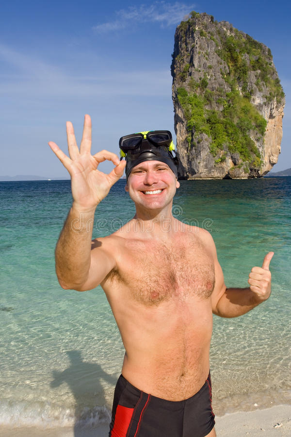Download Happy man on beach stock image. Image of diving, crystal - 23477289