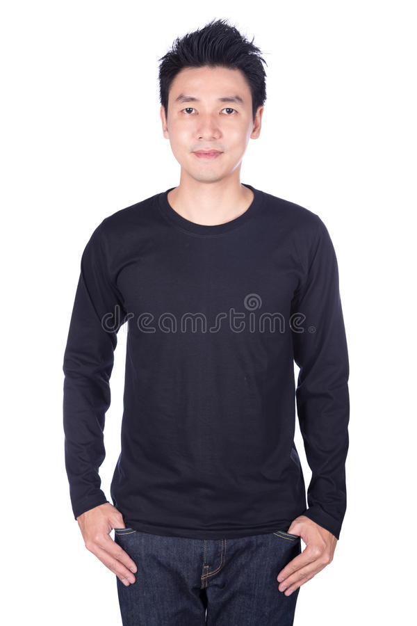 happy man in black long sleeve t-shirt isolated on white background royalty free stock photo