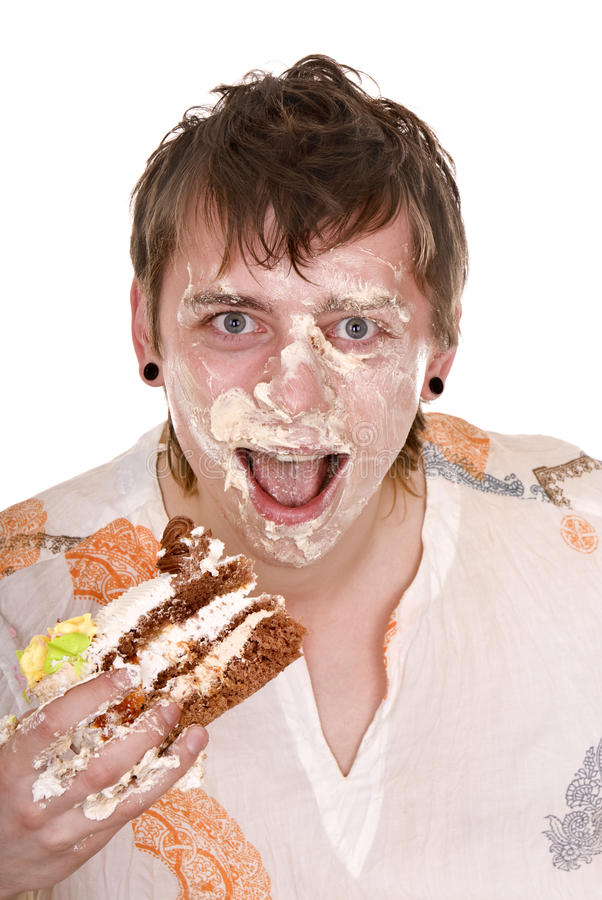 Happy man with cake on birthday. Isolated royalty free stock photo