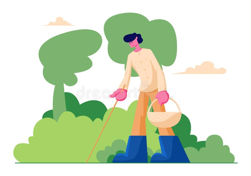 Happy Man Character with Basket and Stick in Hands Searching Mushrooms in Forest, Spend Time Outdoors at Autumn Season. People Walking in Forest, Fall Activity royalty free illustration