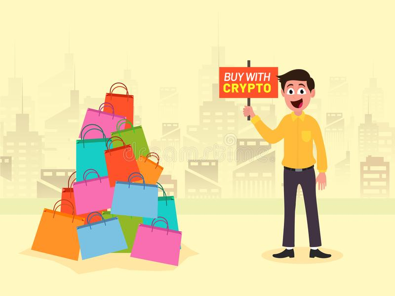 Happy man character holding a banner with text Buy with Crypto an vector illustration