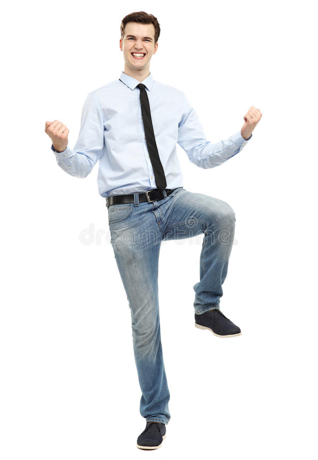 Download Happy man clenching fists stock image. Image of standing - 31029881