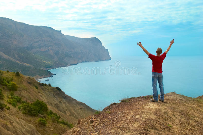 Download Happy man on the cliff stock image. Image of blue, achievement - 29079015
