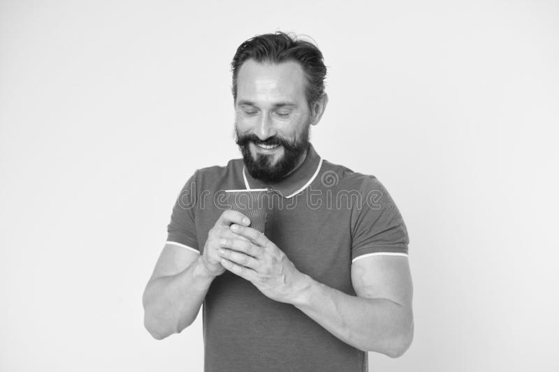 Happy man with coffee on go. Mature hipster with beard. brutal caucasian hipster with moustache. Bearded man. Male. Barber care. Enjoying morning coffee. Fresh stock photos