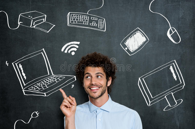 Happy man with computer technology royalty free stock photos