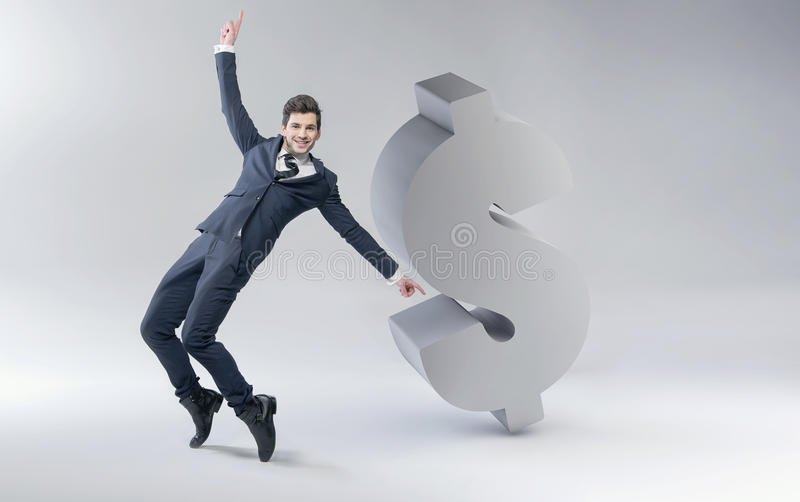 Happy man with dollar mark vector illustration
