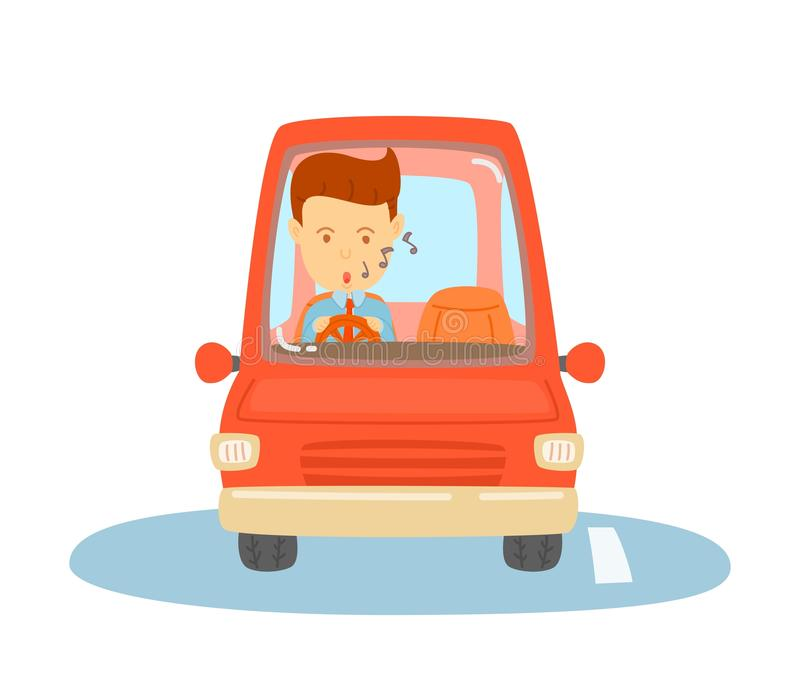 Happy man driving. A red car, Business man is going to workplace, Daily routine of one man, cute vector, cartooning style, colorful illustration stock illustration