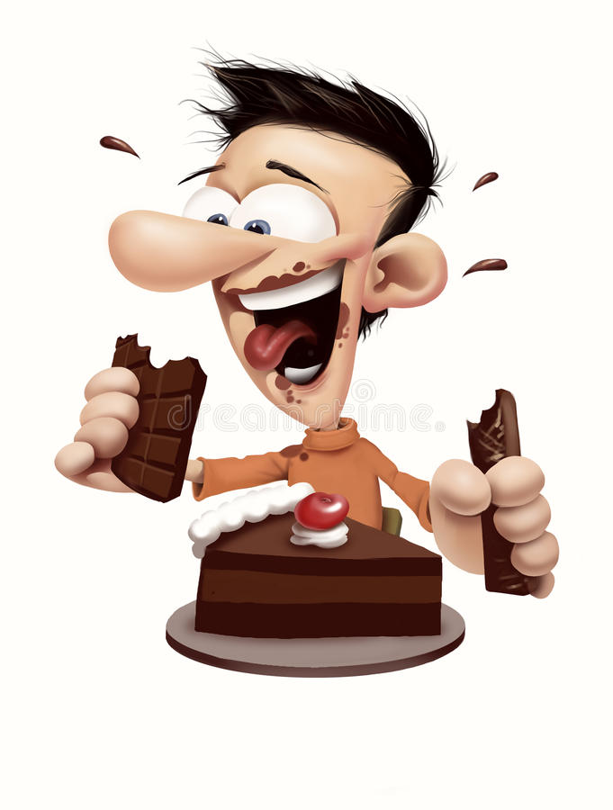 Happy man eating chocolate and cake royalty free stock photo