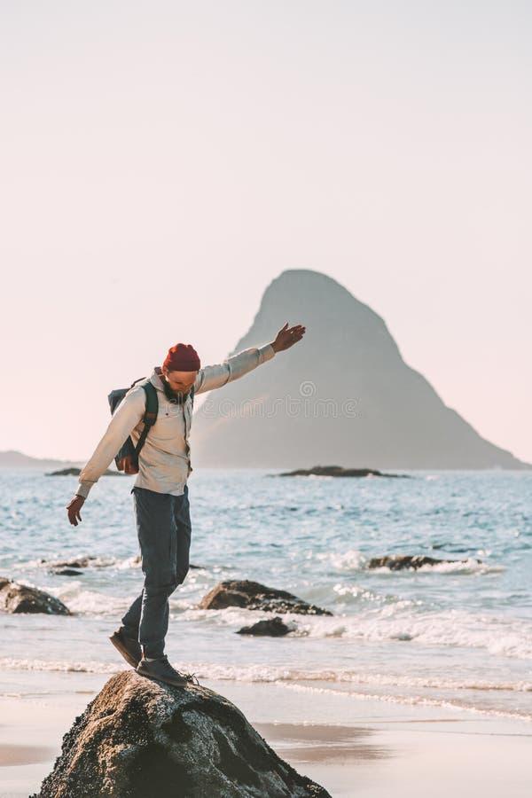 Free Happy Man Enjoying Ocean Beach Traveling Active Lifestyle Stock Photos - 141560123