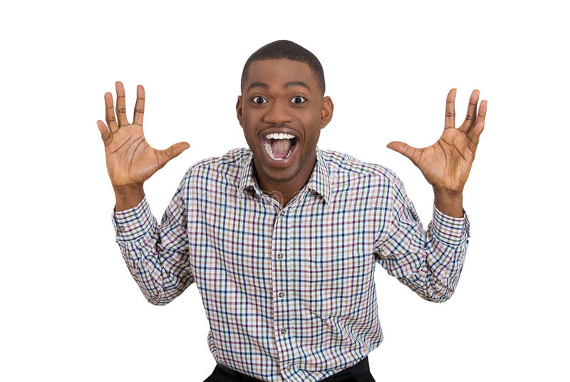 Happy man excited and surprisedm, looking at camera royalty free stock photos