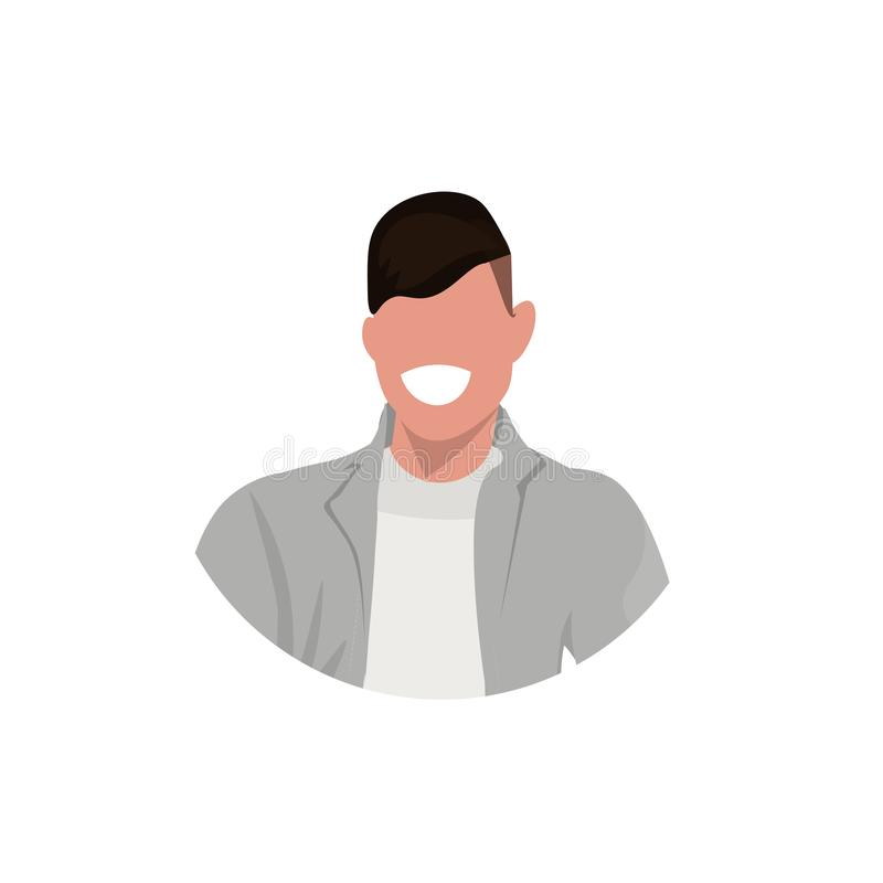 Happy man face avatar young smiling guy male cartoon character portrait flat white background stock illustration
