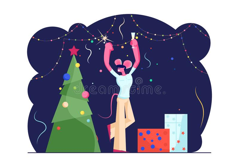 Happy Man in Funny Mouse Ears on Head Holding Sparkler and Champagne Glass Dancing near Decorated Christmas Tree vector illustration