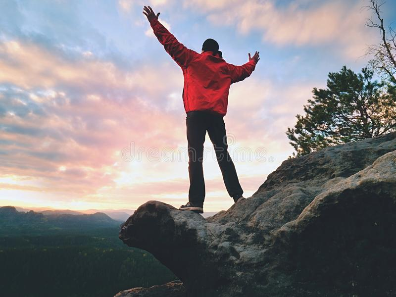 Happy man gesture of triumph with rams in air. Funny hiker on peak of rock royalty free stock image