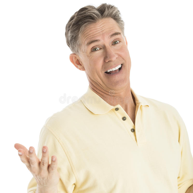 Download Happy Man Gesturing Over White Background Stock Image - Image of camera, person: 32062025