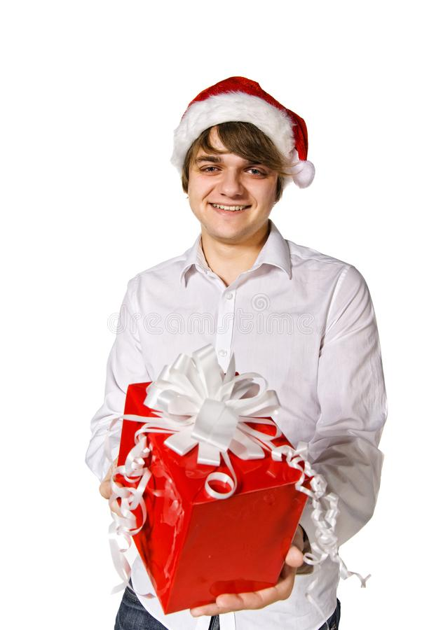 Happy man with gift box royalty free stock photography