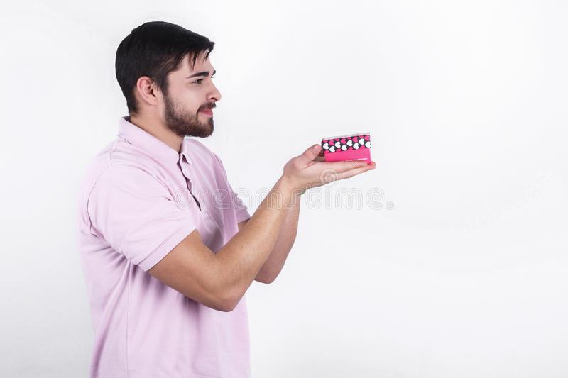 Happy man with gifts on special day royalty free stock image