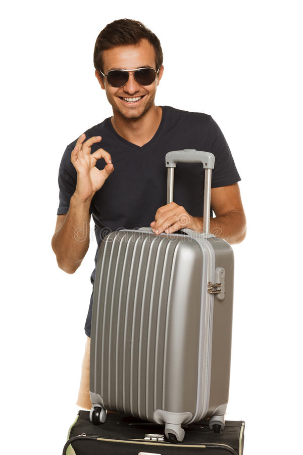 Happy man going to vacations stock photography