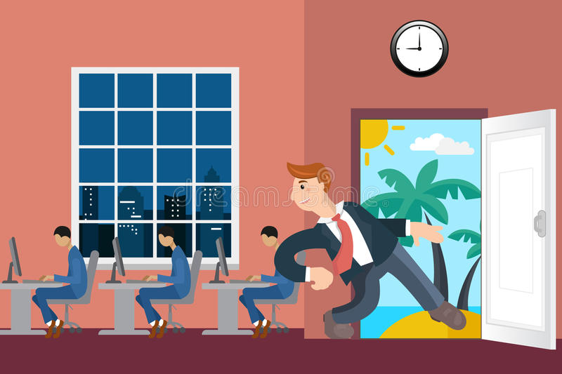 Happy man going on vacation from office stock illustration