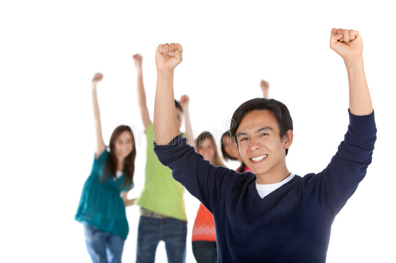 Download Happy man with a group stock image. Image of outstretched - 15519733