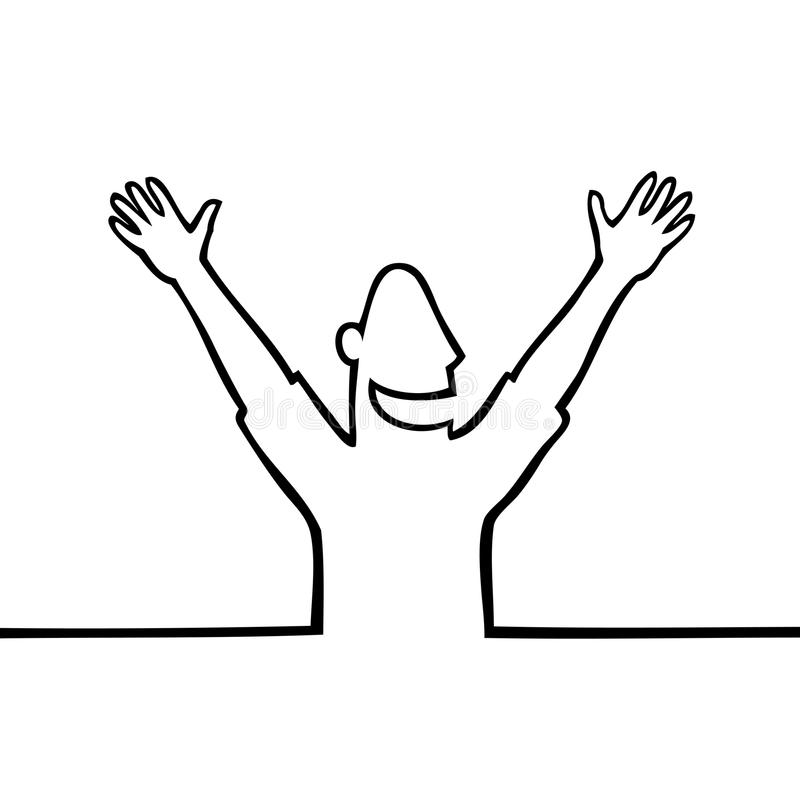 Happy man with hands in the air stock photos