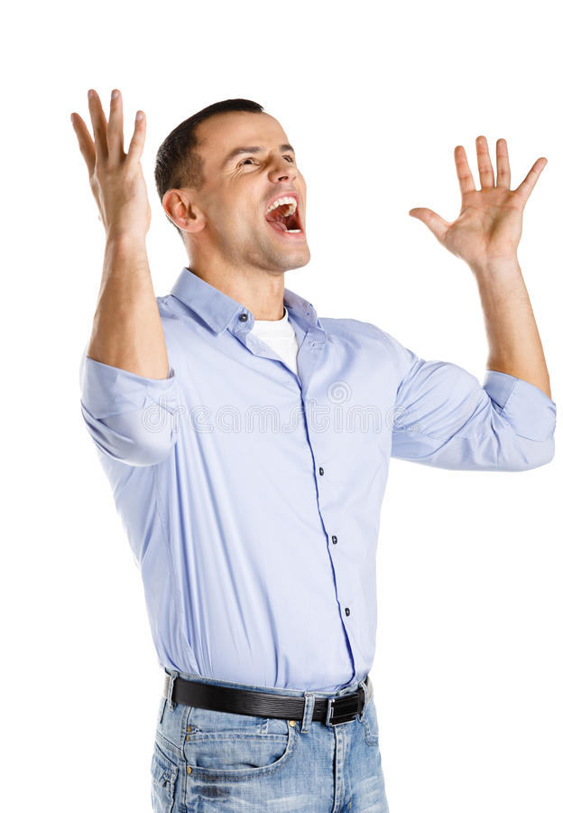 Download Happy man with hands up stock image. Image of background - 29104451