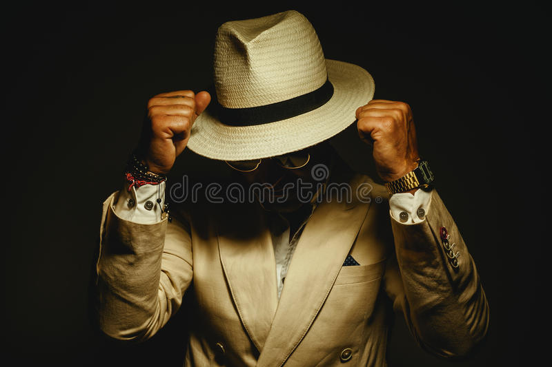 Happy Man With Hat royalty free stock photo