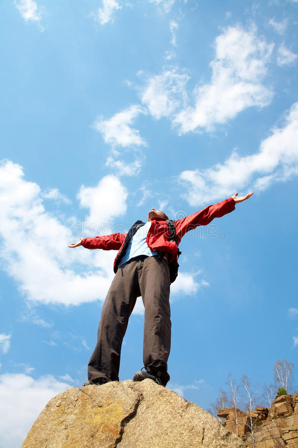 Download Happy Man Hiker Holding His Arms Stock Image - Image: 22853541