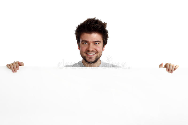 Happy man holding a banner stock images