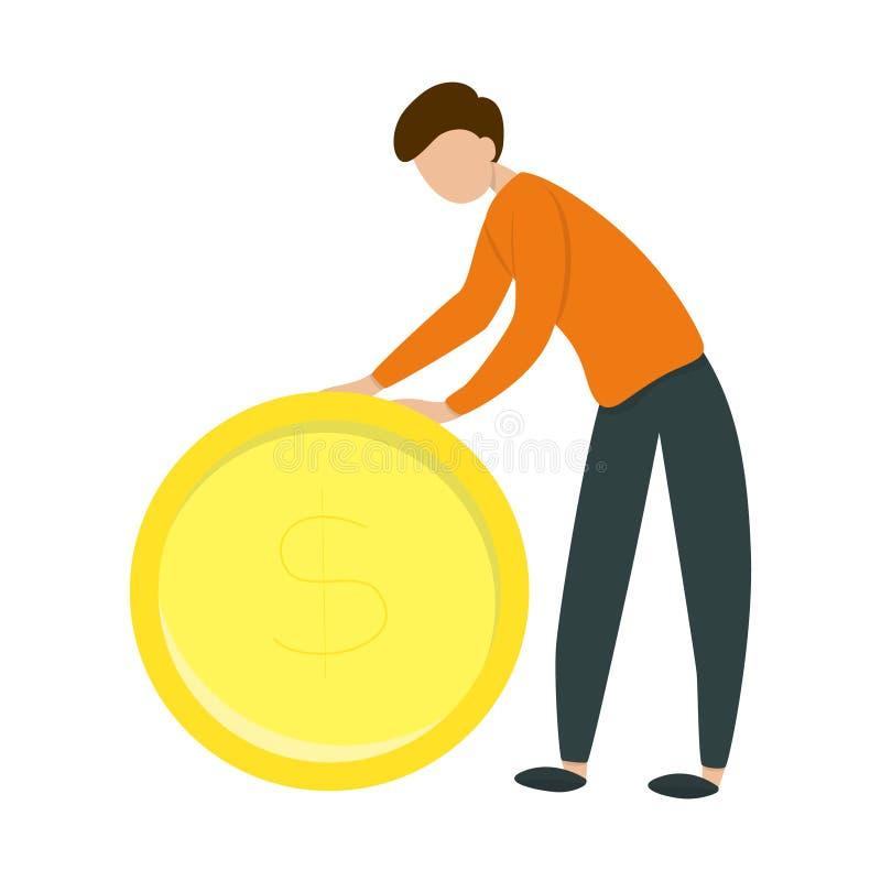 Happy man holding a big golden dollar coin vector illustration