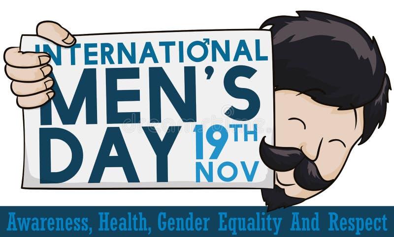 Happy Man Holding a Greeting Sign for International Men`s Day, Vector Illustration vector illustration
