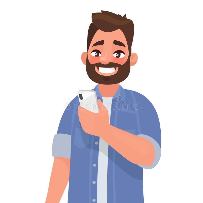 Happy man is holding a smartphone. Person and gadget. Communication in the network. Vector illustration. In cartoon style royalty free illustration