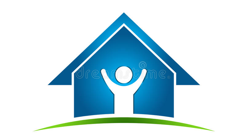 Happy Man In House Logo Royalty Free Stock Images